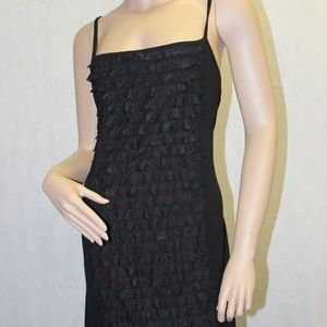 INC Black Sleeveless Ruffle Dress